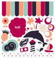 Vintage summer design elements set vector image