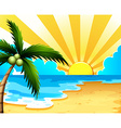 A beautiful beach with a coconut tree vector image