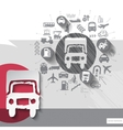 Hand drawn lorry icons with icons background vector image