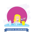 Girl cleaning teeth Beautiful white teeth smile vector image