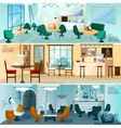 Cafe Restaurant Interior Flat Banners Set vector image