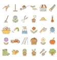 Set of garden plant icons with colours vector image