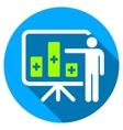 Medical Bar Chart Presentation Flat Round Icon vector image