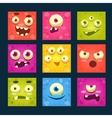 Square Cartoon Monster Faces Set vector image