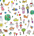 Kids drawing funny seamless pattern - cute vector image