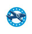 Vintage Propeller Airplane Flying Stars vector image vector image