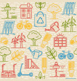 bright seamless pattern with eco symbols vector image