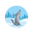 cute wolf howling on the background of winter vector image
