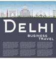 Delhi skyline with gray landmarks vector image