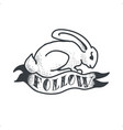 follow the white rabbit tattoo sketch doodle vector image