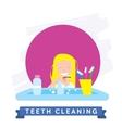 Girl cleaning teeth Beautiful white teeth smile vector image
