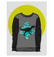 gray sweatshirt with dinosaur print eps 8 vector image