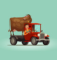 happy farmer and cow rides on truck farming farm vector image