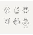 Set of lined owl logos and emblems collection in vector image