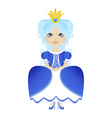 a snow princess queen in blue dress and crown vector image