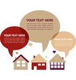 three houses with speech bubbles in retro colors vector image vector image