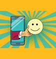 smile joy emoji emoticons in smartphone vector image