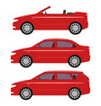 a set of cartoon red cars vector image vector image