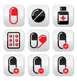Pills medication red and black icons set vector image vector image