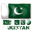 Pakistan flag in different designs vector image vector image