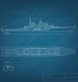 Blueprint ship vector image