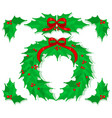 holly christmas decorations set vector image