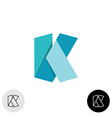 Letter K flat origami wide 3D ribbon style logo vector image
