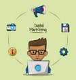 Poster of digital marketing with designer man in vector image