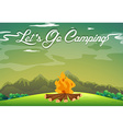 Camping ground with campfire in the field vector image