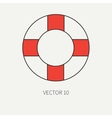 Line flat color marine icon with nautical vector image