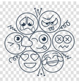 silhouette with smiles and emotions vector image