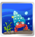 a hermit crab underwater backgroun vector image vector image