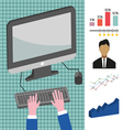Business infographic with computer person charts a vector image