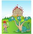 Cartoon knight with three headed dragon vector image