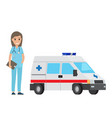 cheerful nurse with ambulance car flat design vector image