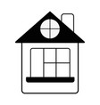 Contour house with roof and window vector image