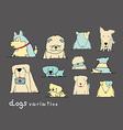 dogs variation doodle pastel on dark grey vector image