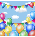 Holiday backgrounds with balloons and flags frame vector image