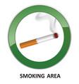 smoking area label smoking area icon info sign vector image