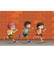 Kids running near wall vector image vector image
