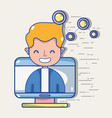 man with social media technology to communication vector image
