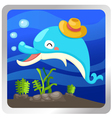 an isolated dolphin underwater vector image