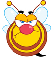 Angry Bee Cartoon Character vector image