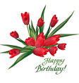 Bouquet of red tulips with lettering text Happy vector image