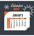 calendar january 2017 template icon vector image