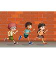Kids running near wall vector image