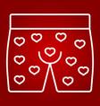 men underwear with hearts line icon vector image