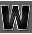 Metal grid font - letter W vector image
