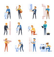 working plumbers flat color icons set vector image
