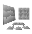 3D Gray puzzle piece set vector image vector image